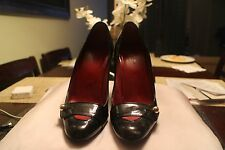 GUCCI Authentic Black Leather Pumps Heels Shoes Gold GG Logo Ball