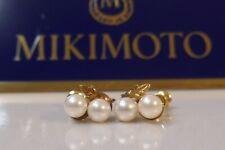 Vtg. Mikimoto 14kt Yellow Gold Double Pearl Earrings - Twist Backs-Non Pierced
