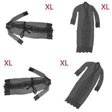 Dress Women Long Bathrobe Night Sexy Lingerie Sleepwear Lace Gown Robe Black XL