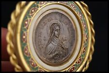 † SAINT THERESE of THE CHILD JESUS HOLY MEDAL WOODEN BASE GOLDTONE TERESA †