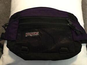 VTG 90s JANSPORT Large Fanny Pack Waist 3 Pocket Black Purple Belt Hiking USA