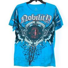 Carbon Nobility Mens M T Shirt Wings Shield Script Blue Red Foil Embellished