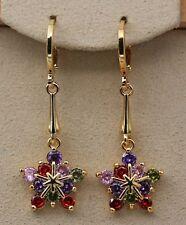 18K Yellow Gold Filled - 1.5'' Star Flower  Ruby Topaz Amethyst Party Earrings