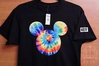 Mens NEFF x Disney Tie Dye Mickey Mouse Head T-Shirt Black Sz L Large