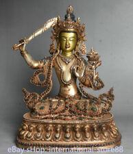 12.4 inch Old Tibetan Gold Filigree Gem Wenshu Manjushri Wisdom Sword Buddha