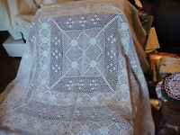 "Vintage Hand Crocheted Square Tablecloth Ecru 36"" x 36"" Very Nice"
