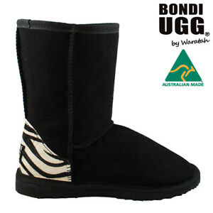 BONDI UGG Crush Short Sheepskin Boot - BLACK/ZEBRA