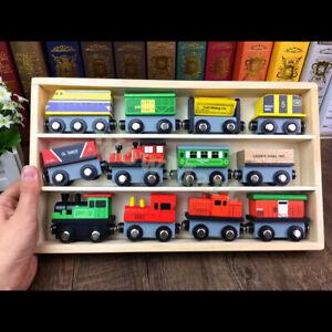 Exquisite Brio & Thomas Compatible Wooden 12Pcs Magnetic Train Collection & Case