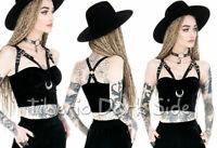 RESTYLE Crescent Metallic Moon Harness Cups Bodice Black Velvet Nu Goth Crop Top