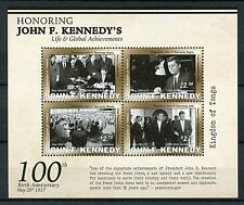 Tonga 2017 MNH John F Kennedy JFK 100th Birth Anniv 4v M/S US Presidents Stamps