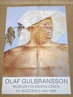 AFFICHE ANCIENNE PEINTRE  OLAF GULBRANSSON, 1986, MUSÉE FOLKWANG ESSEN