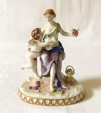 ANTIQUE EARLY 20TH C GERMAN / FRENCH PORCELAIN FIGURE GROUP A LADY WITH CUPID