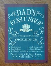 Dad's Fix-It Shop Sign For Garage Or Workbench