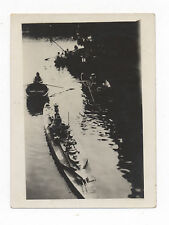 Ca. 1930's ABSTRACT SNAPSHOT PHOTO OF LARGE TOY BATTLESHIP & 3 CANOES ON A RIVER