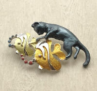 Unique artistic Cat catching  fish Pin Brooch enamel on Metal