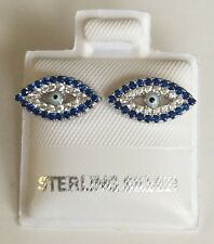 925 STERLING SILVER EVIL EYE EARRINGS / ARETES DE OJO DE LA SUERTE EN PLATA 925