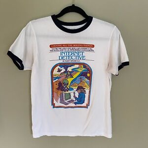Internet Detective Ringer T-Shirt, Size Medium, Good Used Condition