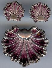 VINTAGE SCANDINAVIAN STERLING PURPLE ENAMEL SHELL DESIGN PIN & EARRINGS SET  *
