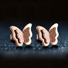 18K Rose Gold Frosted Butterfly Earrings Titanium Steel Women's Jewelry Ear Stud