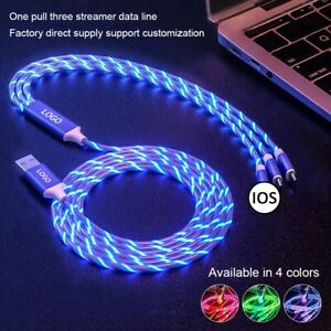 3 in 1 LED Light Up Charger Charging Cable USB Cord for Android Samsung iPhone