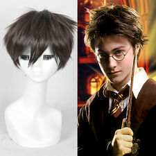 Harry Potter cosplay wig short Thick dark brown crop Pixie Silky full wigs+cap