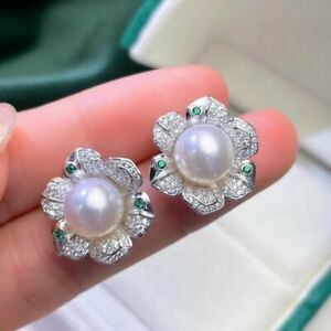 Fashion 9-10 mm round natural south sea white pearl earrings