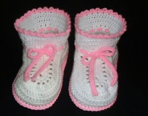 ADULT BABY BOOTIES CROCHET ONE SIZE FITS ALL  BABY WHITE WITH BABY PINK TRIM
