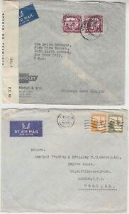 PALESTINE 1943/47 CENSOR/commercial covers *JERUSLEM-NEW YORK* & TEL AVIV-LONDON