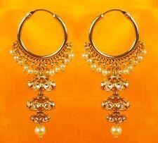 Indian Earrings Ethnic Bollywood Style Gold Tone Jhumka Jhumki Pearl Jewelry