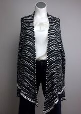 NWOT Eileen Fisher 18 Gray White Black Cotton Knit Stripe Cardigan Sweater Plus