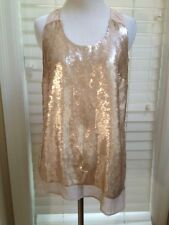 The Limited Blush Champagne Sequin Nude Beige Blouse Size S