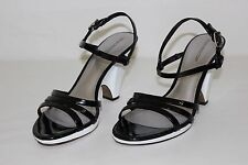 Worthington Womens 9 M Black Patent Leather Strappy Open Toe Pumps Heels Shoes