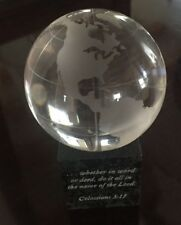 Frosted Crystal Globe With Granite Stand & Gift Box Etched Scripture 3""