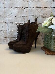 Elizabeth and James Brown Suede Ankle Booties Womens Size 7B High Heel Platform