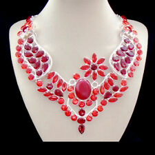 Granat Quarzo Rosso fioritura Glamour Elegante Catena Collana Collier Argento Placcato Nuovo