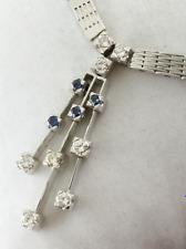 Collar de brillantes -750er ORO BLANCO - 8 CON junt. 0,56 QT. VS + 4 kl.saphire