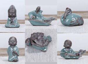 Buddha Statue Jin Chan Chan Chu Frog Feng Shui Miniature Bonsai Chinese Ceramic