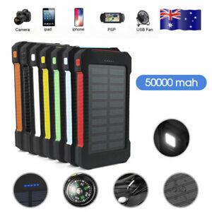 50000mah Solar Power Bank Portable External Battery Dual USB Phone Charger AU