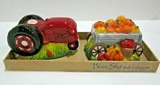 Blue Sky Clayworks Heather Goldminc Tractor Pumpkin Trailer Salt Pepper Shakers