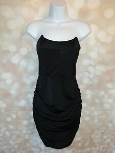 Femme Luxe Black Ruched Mini Dress Size 6