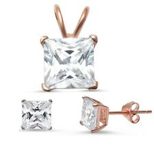Rose Gold Plated Princess Cut Cz .925 Sterling Silver Pendant & Earring set