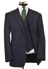 Chester Barrie SAVILE ROW Blue Pinstripe Wool 3pc Suit Jacket Pants Vest 42 L