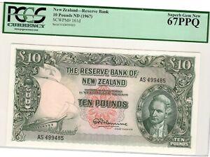 1967 New Zealand 10 Pounds P161d PCGS 67 PPQ Superb Gem New