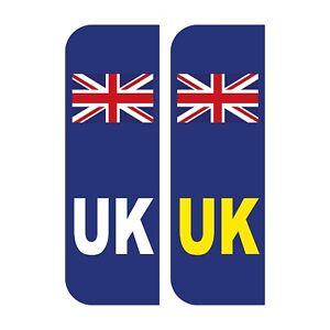 2 x UK Car Stickers - UK Flag Reg Plate Self-Adhesive Vinyl for Car, Van, Lorry