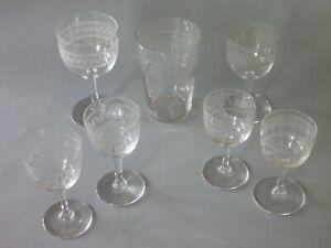 Antique Etched Glasses Battlement pattern (not Greek Key) - Victorian Edwardian
