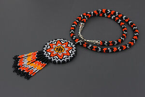 Huichol Necklace, Native American Necklace,Handmade Jewelry,