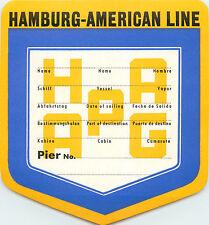 HAMBURG AMERICAN Line - Great  Old STEAMSHIP Luggage label, c. 1955