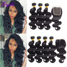 Peruvian Body Wave Human Hair Bundles With 4X4 Lace Closure Weave Extensions
