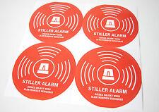 4x STILLER ALARM WARN AUFKLEBER STICKER ABUS ALARMANLAGE DUMMY SICHERHEIT SCHUTZ