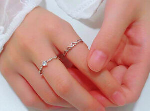 Heart Linked Adjustable Ring 925 Sterling Silver Womens Girls Jewellery Gift UK